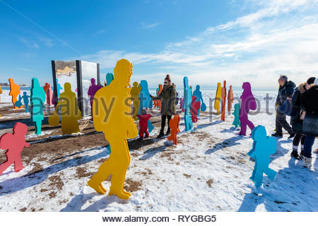 Cavalcade an art installation reflecting the collective spirit of human migration on Woodbine Beach in Toronto Ontario Canada. - Stock Image