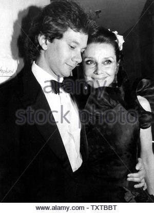 Audrey Hepburn And Son Sean Ferrer At Givenchy's 30 Year Retrospective AT F. I. T.. Credit: 348161_Globe Photos/MediaPunch - Stock Image