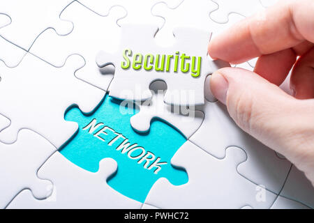 The Words Security And Network In Missing Piece Jigsaw Puzzle - Stock Image