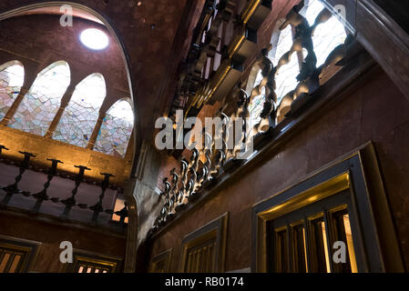 The Palau Güell ( Guell Palace) is a mansion designed by the architect Antoni Gaudí for the industrial tycoon Eusebi Güell and was built between 1886 - Stock Image