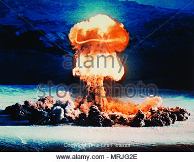Photo of atomic explosion in the Nevada atomic bomb Test Site. Circa 1957 Editorial use only. - Stock Image