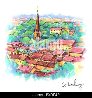 Color hand drawing, scenic aerial view of the Old Town in Gothenburg, Sweden. Picture made markers - Stock Image