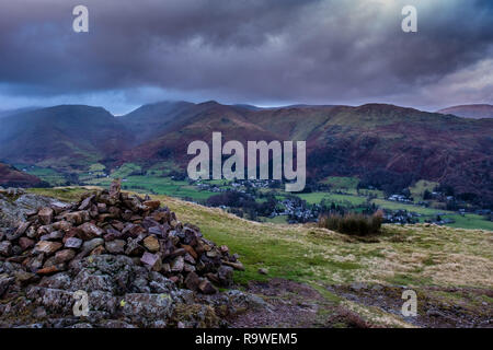 Grasmere seen from the summit of Silver How, near Grasmere, Lake District, Cumbria - Stock Image