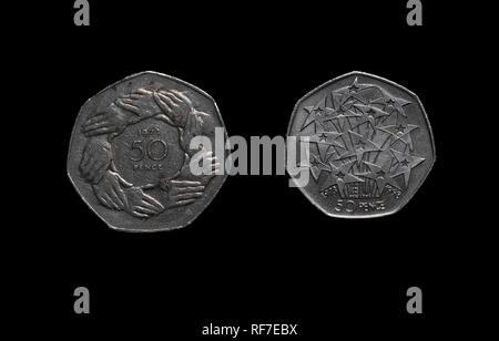 UK commemorative 50 pence coins celebrating the European Union. - Stock Image