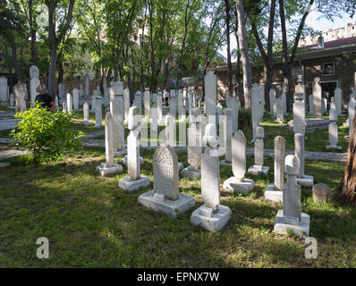 The graveyard inside Galata Dervish House museum in Istanbul Turkey - Stock Image