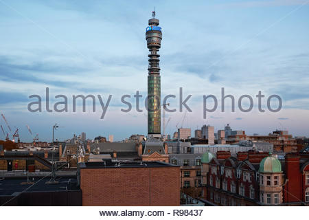 London West End rooftops and the BT Tower at dusk: Central London. - Stock Image