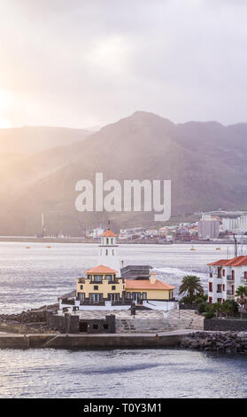 Lighthouse in Canical, a town in the Madeira island, Portugal, at sunset. - Stock Image