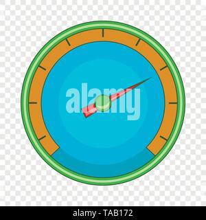 Blue speedometer icon, cartoon style - Stock Image