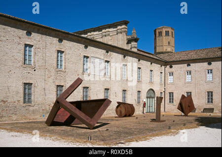 artworks in the courtyard of the former Abbazia di Valserena abbey (Certosa di Parma) now museum , Paradigna, Parma, Italy - Stock Image