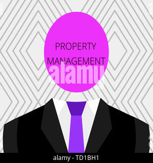 Handwriting text Property Management. Conceptual photo Overseeing of Real Estate Preserved value of Facility Symbolic Drawing Emblematic Figure of Man - Stock Image