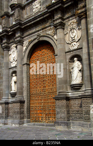 One of the Large Wooden Doors to Puebla Cathedral Puebla City Mexico - Stock Image