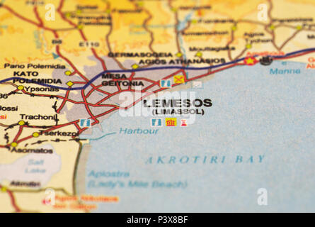 map of Limassol, Cyprus island - Stock Image