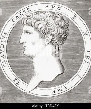 Claudius, 10 BC - 54 AD.  Roman emperor. - Stock Image