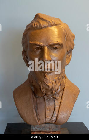 USA Alabama Birmingham The Sloss Furnaces now a National Historic Landmark once a pig iron plant - portrait or bust of James Withers Sloss - Stock Image