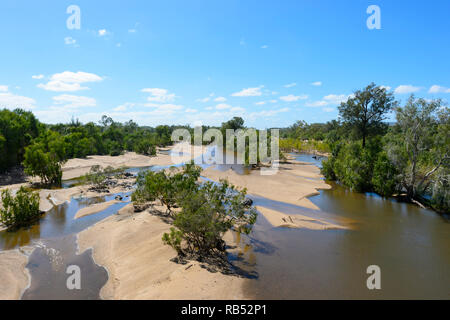 View of Einasleigh River seen from H.L. (Bib) Loudon Bridge between Mt Surprise and Georgetown, Savannah Way, Queensland, QLD, Australia - Stock Image