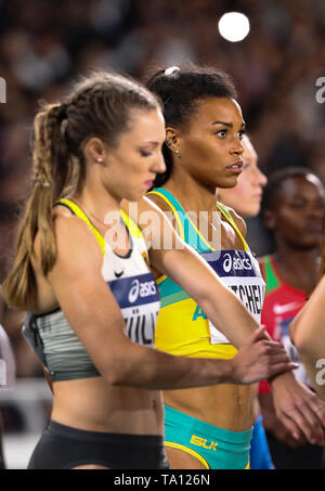 YOKOHAMA, JAPAN - MAY 12: Morgan Mitchell of Australia in the final B of the women's 4x400m relay during Day 2 of the 2019 IAAF World Relay Championships at the Nissan Stadium on Sunday May 12, 2019 in Yokohama, Japan. (Photo by Roger Sedres for the IAAF) - Stock Image