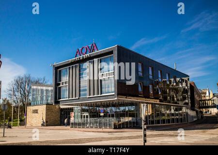 Rakvere,Lääne-Viru/Estonia-06MAY2018: Rakvere AQVA Spa and Hotel building in spring outdoors, blue sky. - Stock Image