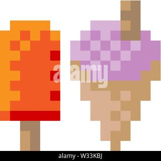 Ice Cream Frozen Yogurt Lolly Pixel 8 Bit Icon - Stock Image