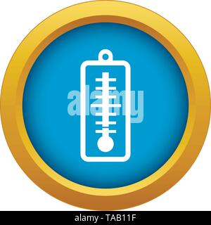 Thermometer indicates low temperature icon blue vector isolated - Stock Image