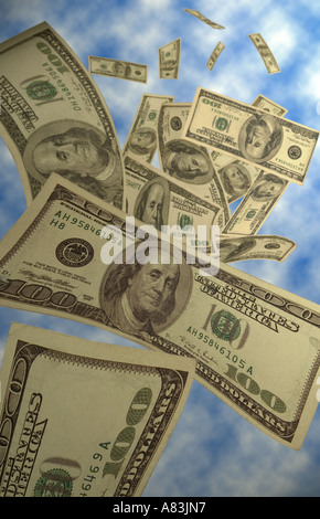 Dollars falling from heaven. - Stock Image