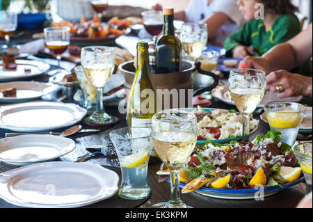 A Mediterranean style lunch outside - Stock Image