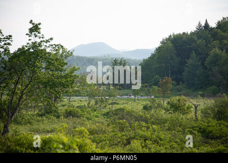 Two canoes navigating down the Sacandaga River in the Adirondack Mountains, NY USA in early summer on a hazy afternoon. - Stock Image