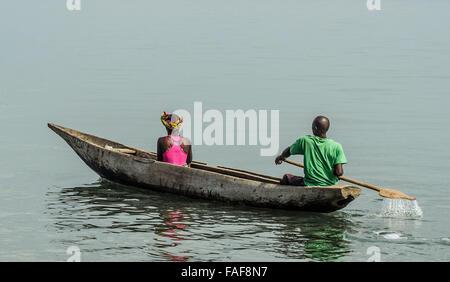 Boat travel, Sierra Leone. - Stock Image