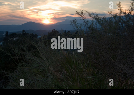 Sunset in hills above Fuengirola, Spain, - Stock Image
