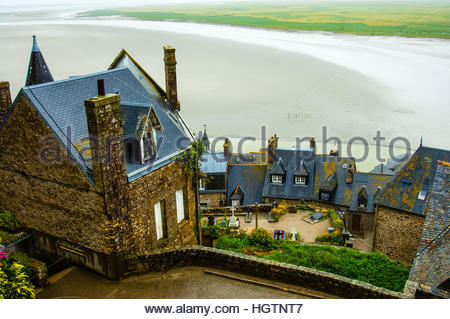 Views & sites around the town and Island of Mont St Michel in Normandy, France. View of the architecture & - Stock Image