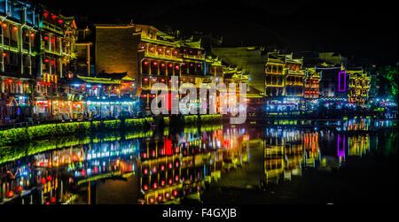 Fenghuang, Phoenix Town, Hunan, China at night - Stock Image