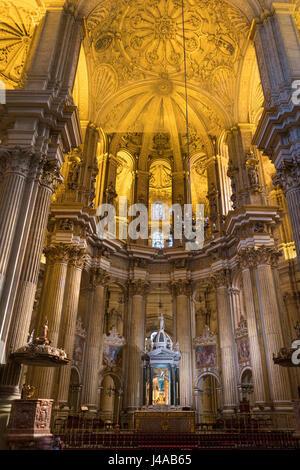 Malaga Spain Cathedral interior. La Santa Iglesia Catedral Basilica de la Encarnacion, Málaga - Stock Image