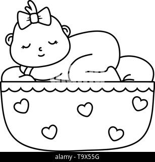 baby sleeping in a cradle with bow vector illustration graphic design - Stock Image