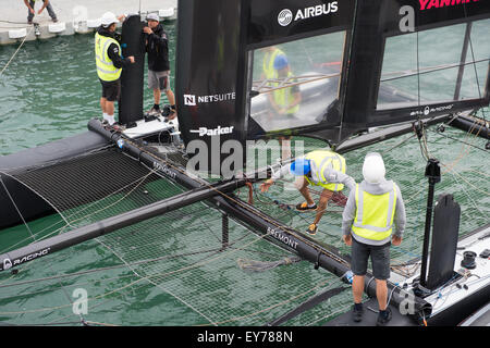 Portsmouth, UK. 23rd July 2015. Oracle Team USA AC45f is inspected by crew and team prior to leaving it's base - Stock Image