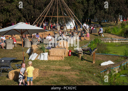 Woodstock, UK, 4th August 2018. Visitors flocked to BBC Countryfile Live, held within the grounds of Blenheim Palace. Animals, wildlife, food, outdoor sports, conservation, farming, rural affairs, entertainment, all were represented. The Riverside Club members area. Credit: Stephen Bell/Alamy Live News. - Stock Image