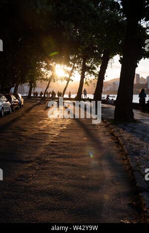 Sunset in Urca, Rio de Janeiro, Brazil - Stock Image