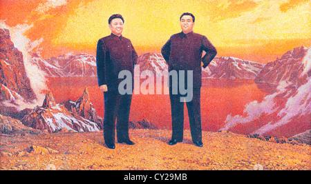 Patriotic Mural of Kim Il-Sung and Kim Jong-Il, Pyongyang North Korea - Stock Image