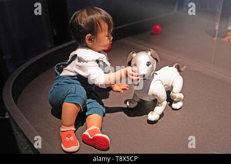 Charlotte Xie, aged one, interacts with Sony's robot puppy 'Aibo' at a press preview for AI: More Than Human exhibition at the Barbican Centre in London. The major new exhibition explores the relationship between humans and artificial intelligence. - Stock Image