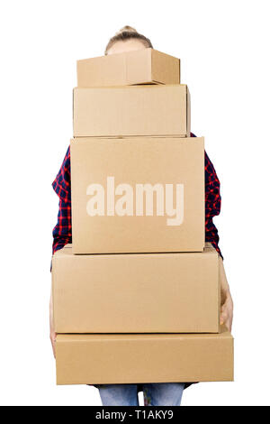 woman carrying stack of cardboard boxes on white background - Stock Image