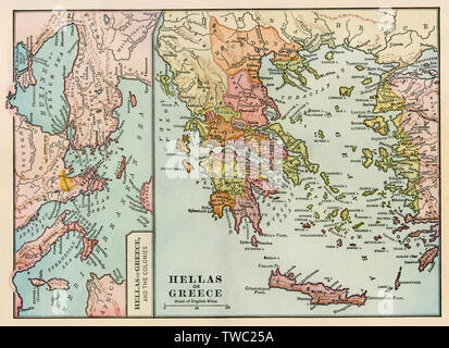 Map of ancient Greece and the Greek empire. Color lithograph - Stock Image