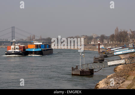 Rhein Cargo docking points, river Rhine, Dusseldorf, Germany. - Stock Image