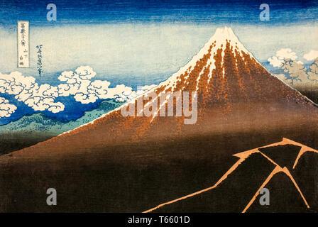 Katsushika Hokusai, Shower Below the Summit (Sanka hakuu), print, c. 1830 - Stock Image