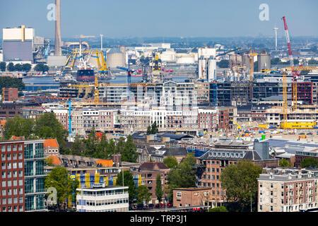 Amsterdam, Netherlands, residential area Zeeheldenbuurt, harbor area, - Stock Image