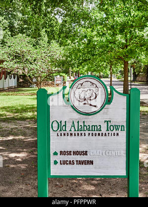 Old Alabama Town sign giving directions to the outdoor museum in Montgomery Alabama, USA. - Stock Image
