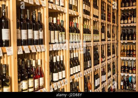 Czech Republic, Prague. Wine bottles on shelves. Credit as: Wendy Kaveney / Jaynes Gallery / DanitaDelimont.com - Stock Image