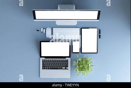 devices top view 3d rendering mockup - Stock Image