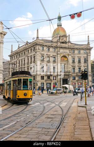 Vertical streetview of Palazzo delle Assicurazioni Generali in Milan, Italy. - Stock Image