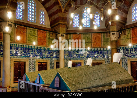 The türbe (mausoleum) of Suleiman the Magnificent in Süleymaniye Mosque at Fatih, Istanbul. - Stock Image