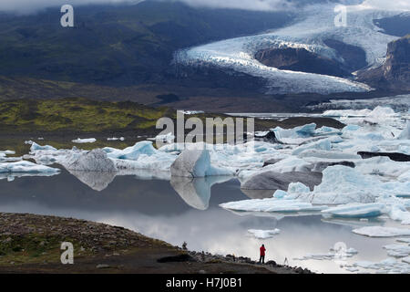 skaftafell glacier, fjallsárlón iceberg lagoon, iceland - Stock Image