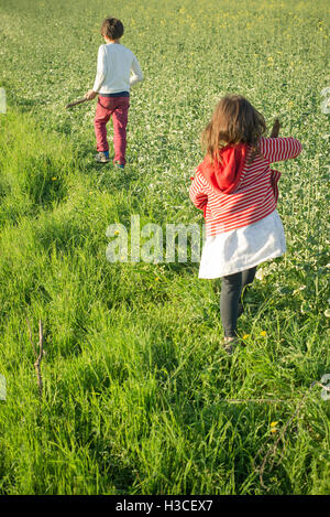 Children walking in field, rear view - Stock Image