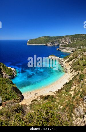 Galazio beach, (accessed only by boat), Paxos ('Paxi') island, Ionian Sea, Eptanisa ('Seven Islands'), - Stock Image